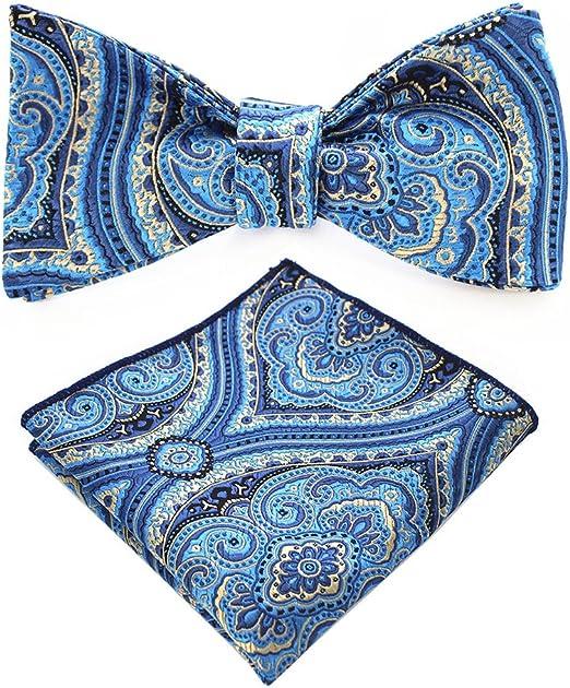 New formal Men/'s micro fiber pre-tied bow tie /& hankie set paisley black teal