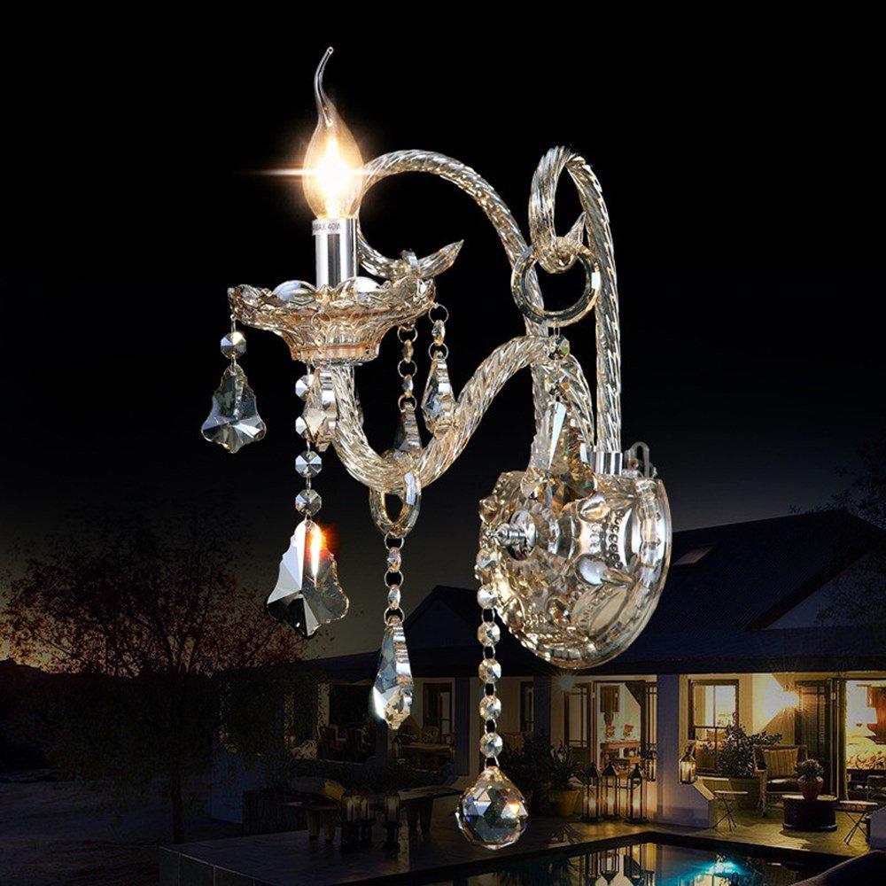 1 Lights Schlafzimmer-Wandlampe moderne Einzelkopf Nachttischlampe k9 Kristallwand brachte Licht, 1 Lichter an