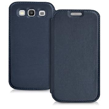 kwmobile Funda compatible con Samsung Galaxy S3 / S3 Neo - Carcasa con [tapa tipo libro] - Case protector en [azul]