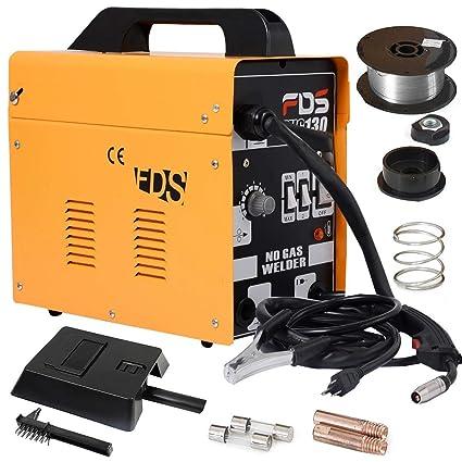 COSTWAY Máquina de Soldadura FLUX Gas Inerte MIG 130 Electrodos Soldador (Amarillo)