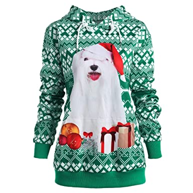 efa90422f9bf WaiiMak Lovers Hipster Christmas Dog 3D Print Party Long Sleeves Top  Sweatshirt Plus Size (L