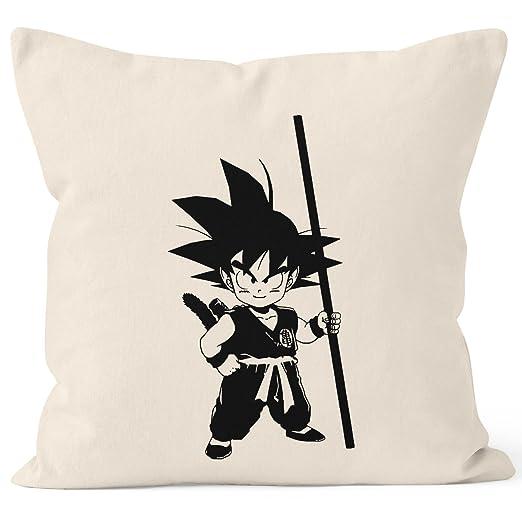 Almohada son Goku Child Super saiyajin Dragon Ball Z Funda de cojín – cojín de decoración 40 x 40 Algodón Moon Works®, Son Goku Child Natur, talla ...