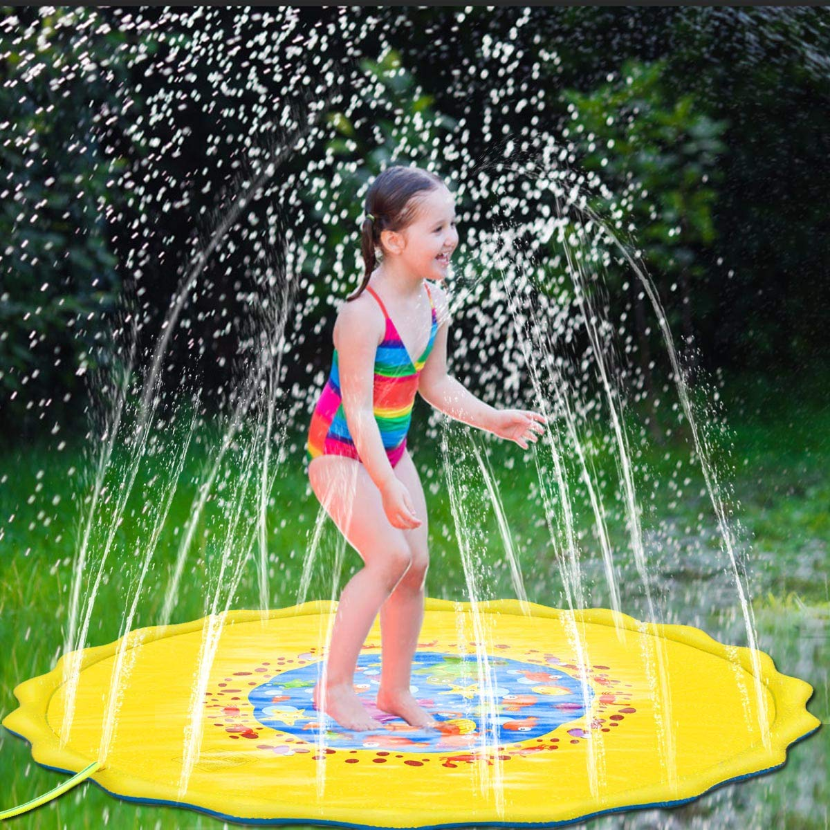 Yellow U-Goforst 68 Inch Sprinkle and Splash Play Mat Water Wadding Pool Toys Fun for Children Toddlers Boys Girls Kids Inflatable Summer Outdoor Party Sprinkler Splash Pad