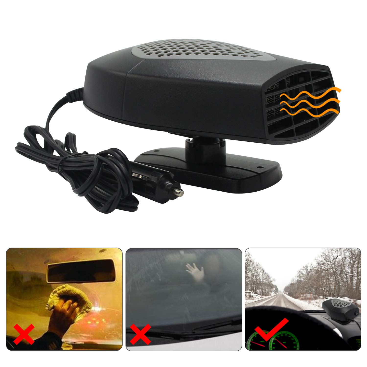 Windshield Car Heater - Portable Car Defroster Defogger 12V Truck Car Heat Cooling Fan 150W 3-Outlet Plug in Cigarette Lighter (12V Vehicle)