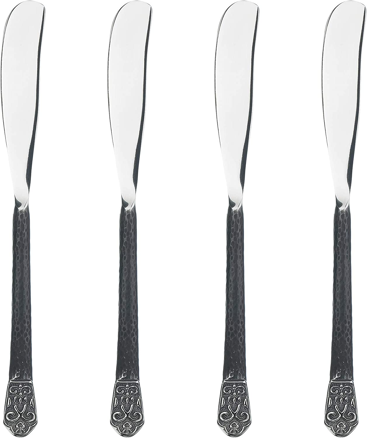 Gourmet Settings 4-Piece Knife Set-Avalon Collection Polished/Matte Stainless Steel Spreaders - Cheese and Butter Spreading Knives, 6.75 inches, Dishwasher Safe