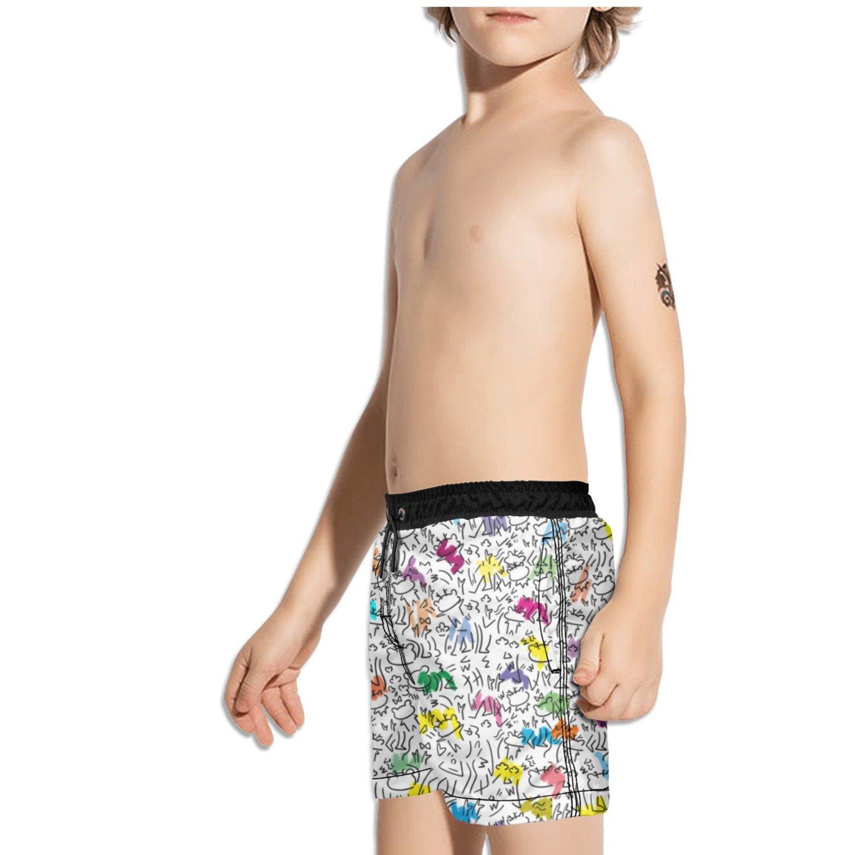 Ouxioaz Boys Swim Trunk paintnig Colorful Bear Beach Board Shorts