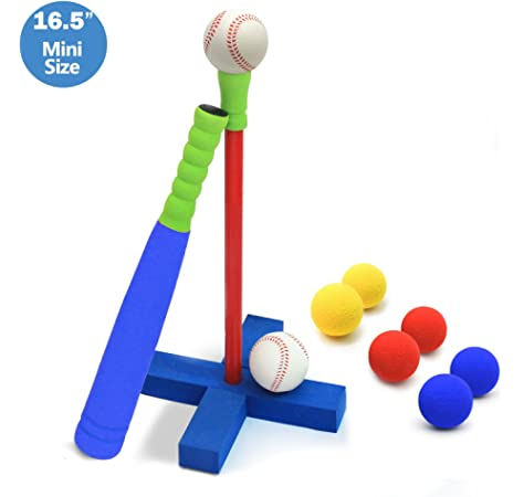 1 bat and 2 Balls; Folds up with Storage Compartments High Bounce T-Ball Training Baseball Set for Kids