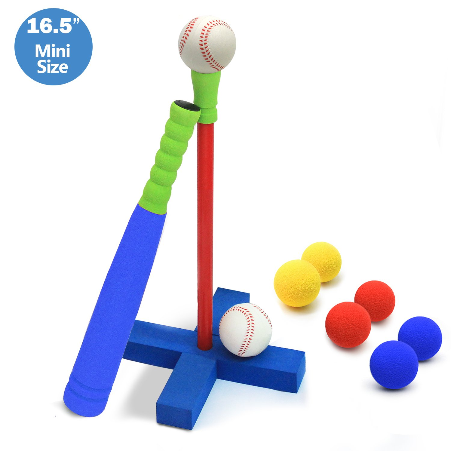 CELEMOON [Mini Size] Upgraded 16.5 inch Kids Foam T Ball Baseball Set Toy for Toddlers, 8 Different Colored Balls Included + Carry/Organize Bag, for Kids Over 1 Years Old by CeleMoon