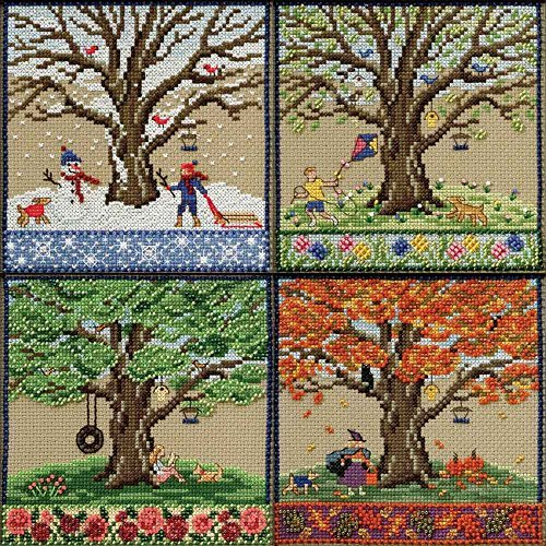 Mighty Oak Beaded Counted Cross Stitch Kits 2017 Mill Hill Quartet (Set of 4: Fall, Spring, Summer, Winter) by Mill Hill (Image #2)