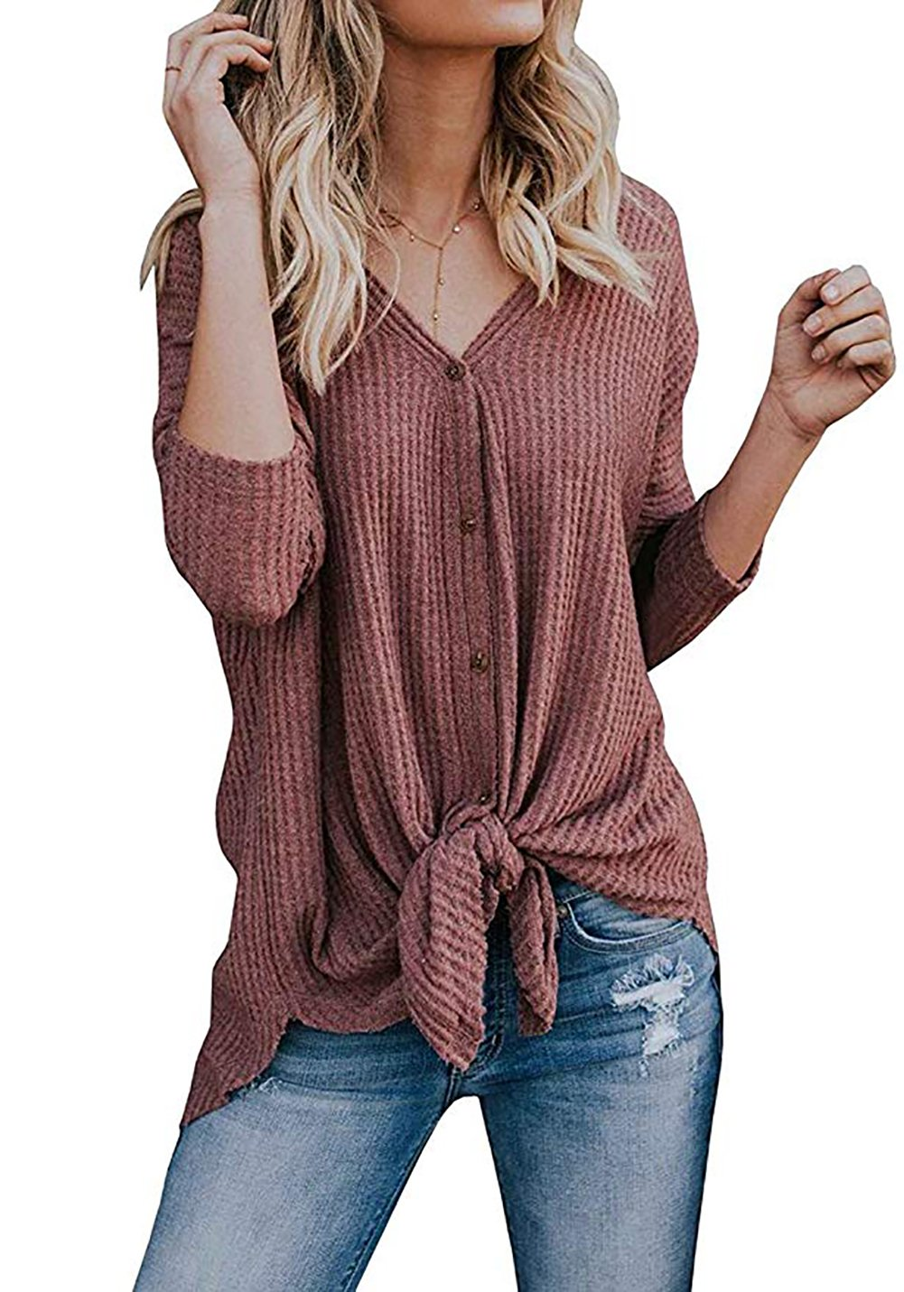 Chvity Long Sleeve Loose Fit Tops Ribbed Knit Tie Knot V Neck Button Front Shirts (Large, Rust Red)