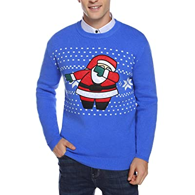 Abollria Christmas Sweater for Men Knitted Sweater for Mens Pullover with Santa Pattern Tops at Amazon Men's Clothing store