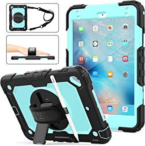 iPad Mini 5/4 Case, SEYMAC Stock [Full-Body] & [Shock Proof] Armor Protective Case with 360 Rotating Stand & Strap [Stylus Pencil Holder] for iPad Mini 5th/4th Generation(SkyBlue+Black)