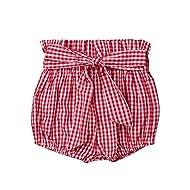 Toddler Baby Girl Shorts Elastic Waist Bowknot Waistband Bloomers Floral Gingham Polka Dots Pants Clothes Set