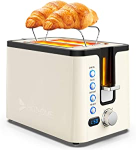 Toaster 2 Slice, Hosome Stainless Steel Bread Bagel Toaster Extra Wide Slots Toasters with Warming Rack, 6 Shade Settings, LED Display, Removable Crumb Tray, Bagel/Defrost/Reheat/Cancel Function, Cream