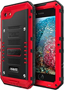 Beasyjoy iPhone 6 Case iPhone 6s Metal Case Waterproof Heavy Duty Screen Military Grade Full Body Tough Durable Metal Cover Drop Proof Shockproof Rugged Defender for Outdoor Red