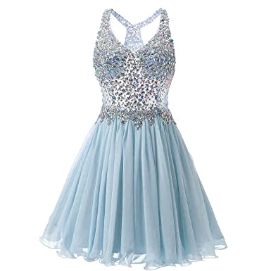7ee84dd4e64 YinWen Women s A Line Halter Crystals Bodice Short Homecoming Party Dress  Size 2 US Blue