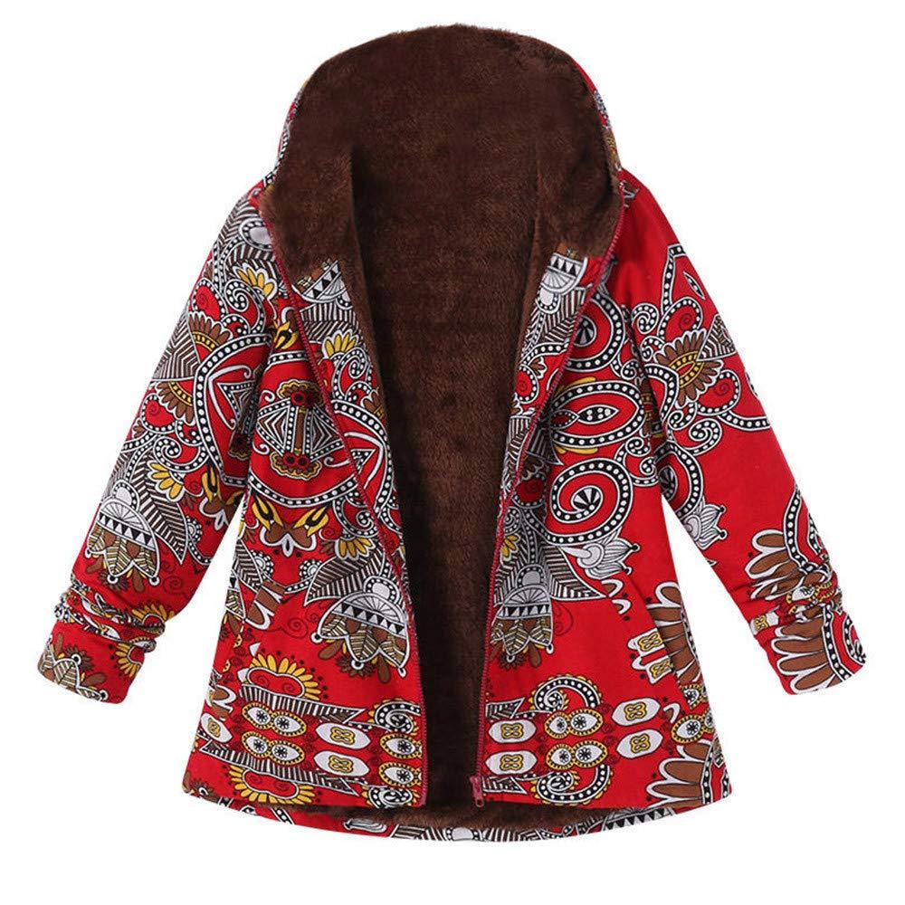 Mysky Stuff Winter Womens Warm Floral Print Hooded Pockets Outwear Ladies Vintage Plus Size Coats