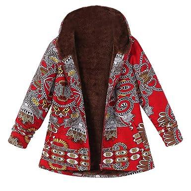 Abrigo Mujer Invierno Rebajas,Chaqueta Suéter Impreso más Grueso Abrigo EUZeo Suelto algodón Jersey Mujer Caliente y Esponjoso Tops Mujeres Invierno ...