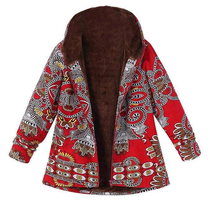 Linlink Mujeres cálida de Invierno Caliente Outwear impresión Estampado Floral Bolsillos con Capucha de Gran tamaño Extragrande Retro Vintage Abrigos: ...