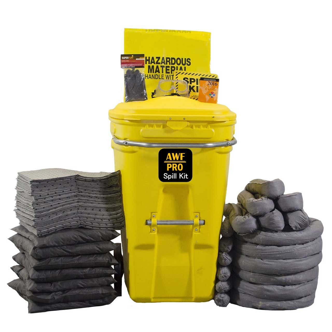 65 Gallon Universal Spill Kit Includes Wheeled Container, 75 Spill Pads 15''x19'',6 Socks 3''x12',6 socks 3''x4',7 Pillows 18''x18'',Safety Goggles,Chemical Gloves,Response Guidebook,Disposal Bag,Spill Sign