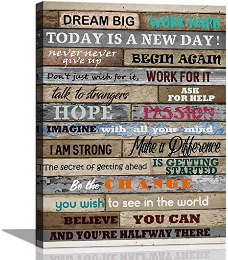 Amazon Com Inspirational Wall Art Motivational Poster Quotes Office Wall Decor For Living Room Bedroom Bathroom Decoration Canvas Print Framed Art Today Is A New Day Ready To Hang Posters Prints