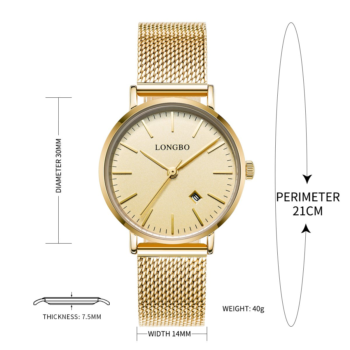 Amazon.com: LONGBO Simple Couple Watches Stainless Steel Band Analog Display Quartz Women Watch Gold Ultra Thin Dial Business Wristwatch Date Waterproof: ...