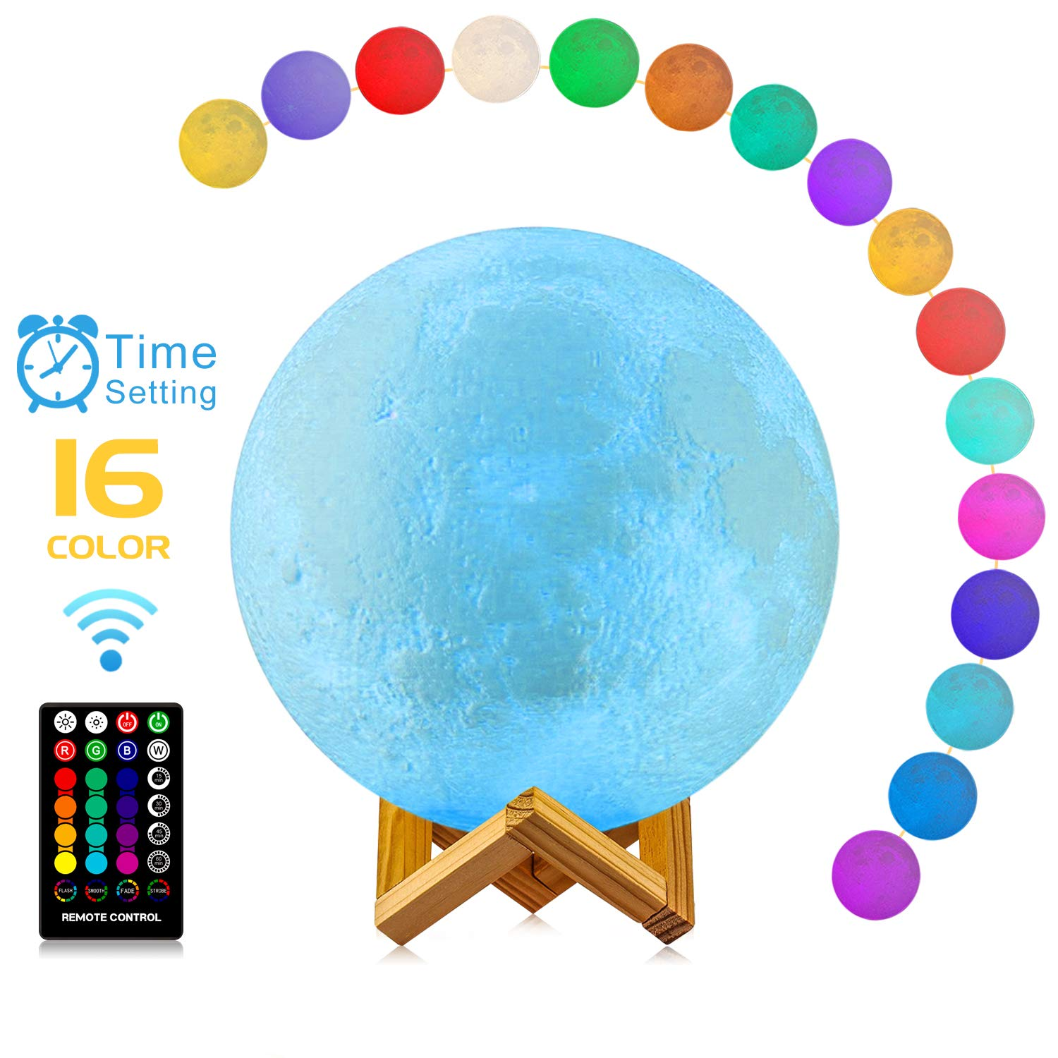 Moon Lamp, Moon Light Lamps with Time Setting and Stand 3D Print LED 16 Colors, Hung Up Decorative Night Lights for Birthday Baby Kids Party Christmas Gifts(Diameter 9.6 inch)