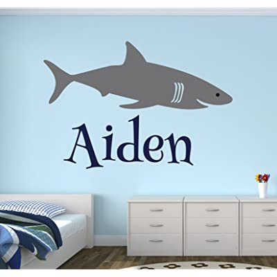 Personalized Name Shark Wall Decal - Boy Name Wall Decal Kids Room Decor - Shark Wall Decal Nursery Decor (30Wx20H): Baby