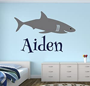 Personalized Name Shark Wall Decal - Boy Name Wall Decal Kids Room Decor - Shark Wall Decal Nursery Decor (30Wx20H)