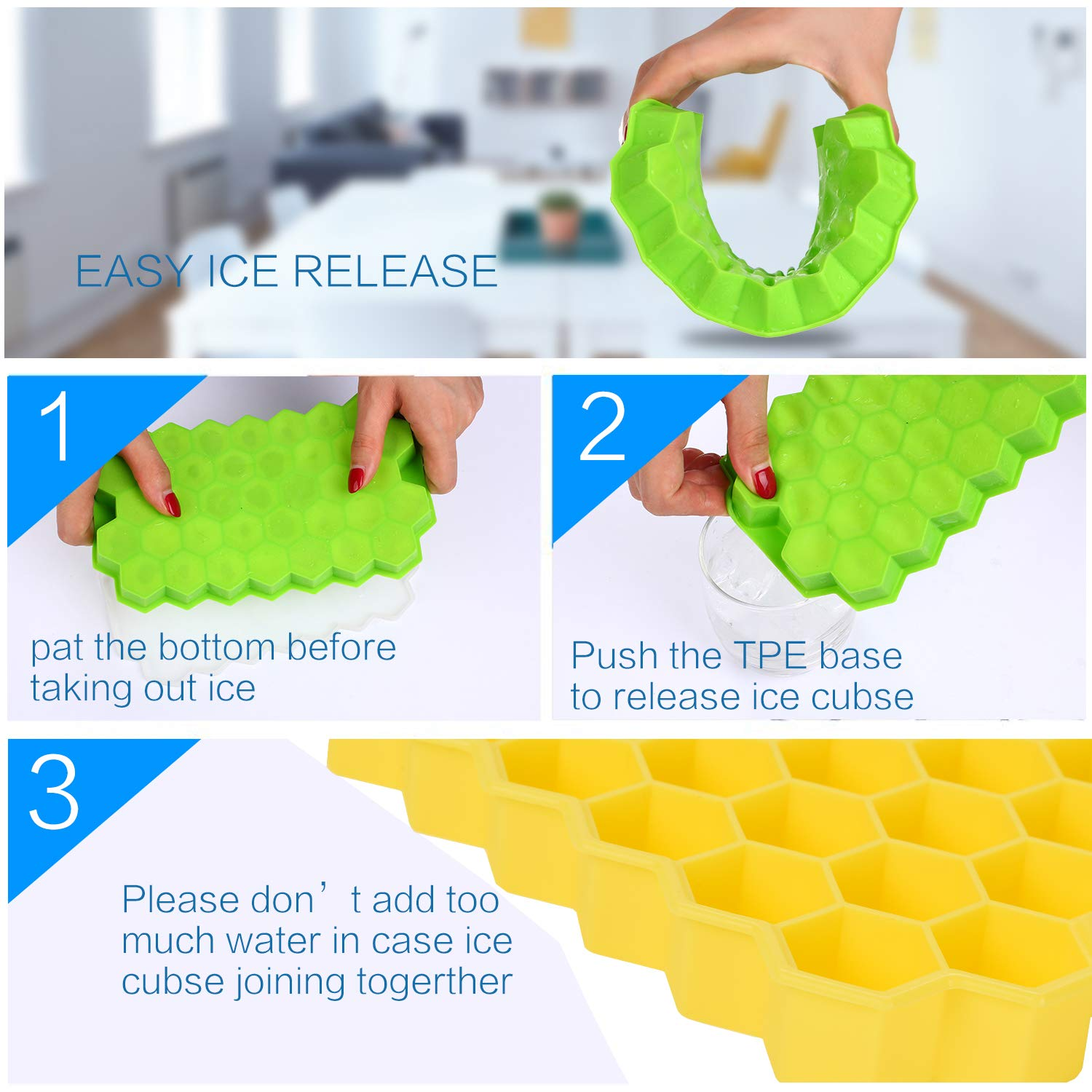 Ice Cube Trays with Lids,Bomstar 2 Pack Food Grade Silica Gel Flexible 74 Ice Trays with Spill-Resistant Removable Lid,BPA Free Ice Cube Molds for Whiskey Storage,Cocktail,Beverages by BomStar (Image #2)