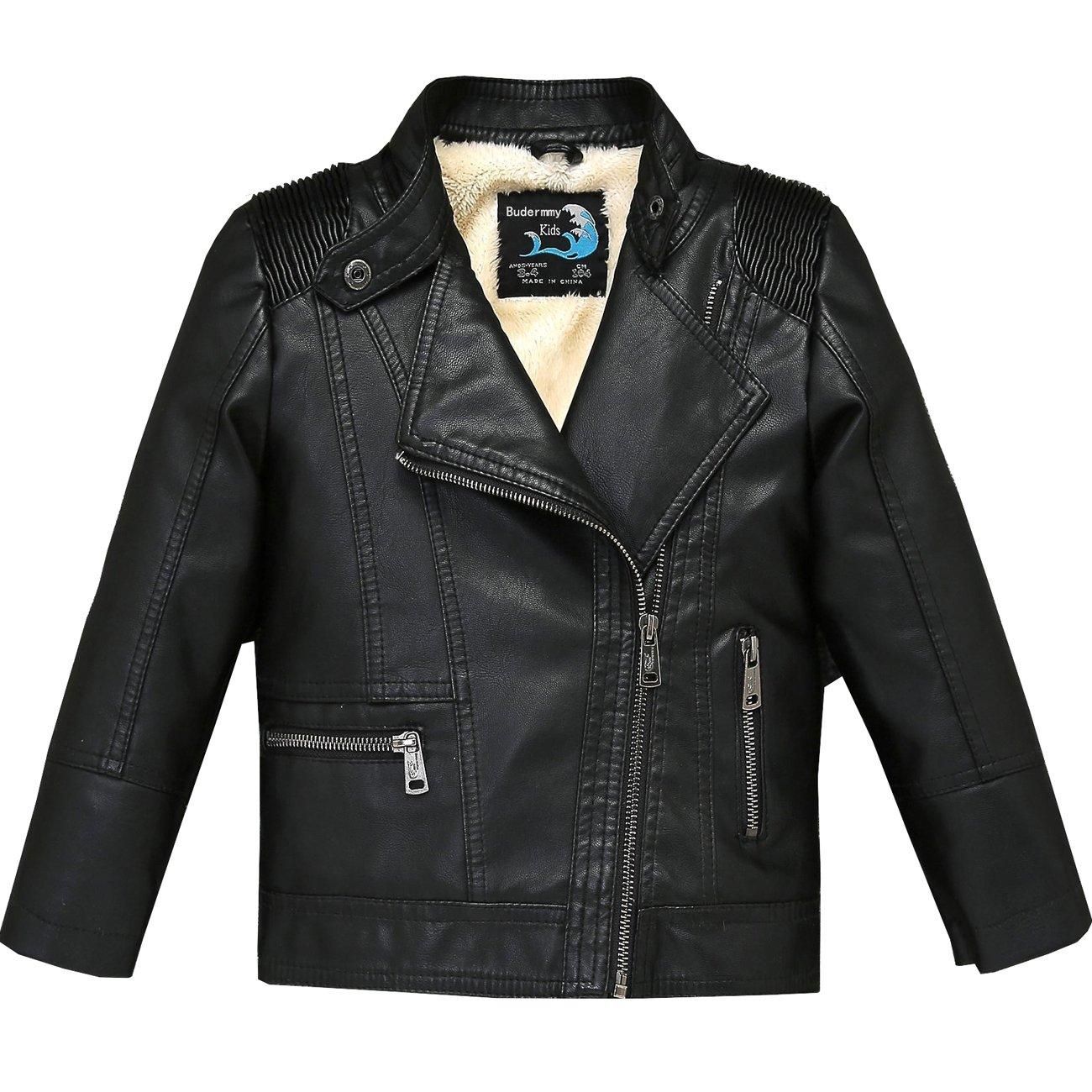 Budermmy Boys Faux Leather Motorcycle Moto Biker Jackets Zipper Coats Black 1 Size 3T by Budermmy