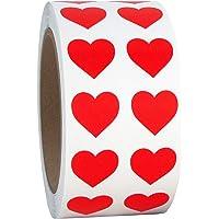 "Red Heart Shaped Sticker Labels, 1/2"" Diameter, 1000 per Roll.5 inch"