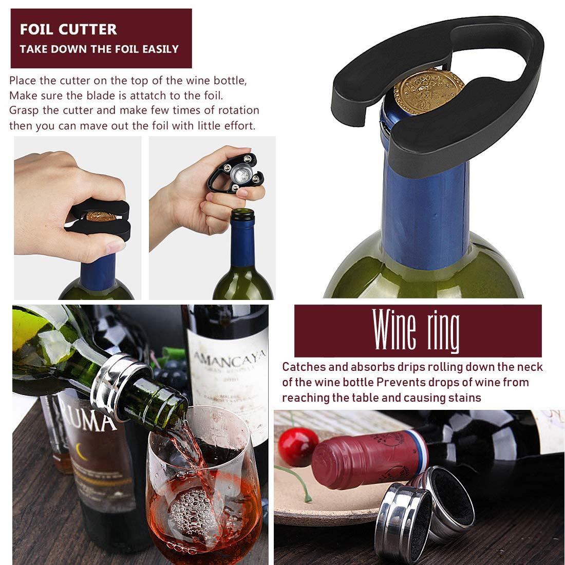 Wine Opener Set,Wine Accessories Gift Set Wine 4 Set YOBANSA Wing Corkscrew,Wine Bottle Opener Wine Stopper Foil Cutter,Creative Waiters Corkscrew