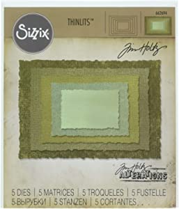 Sizzix, Multi Color, Thinlits Die Set , Stacked Deckle by Tim Holtz, 5 Pack, One Size