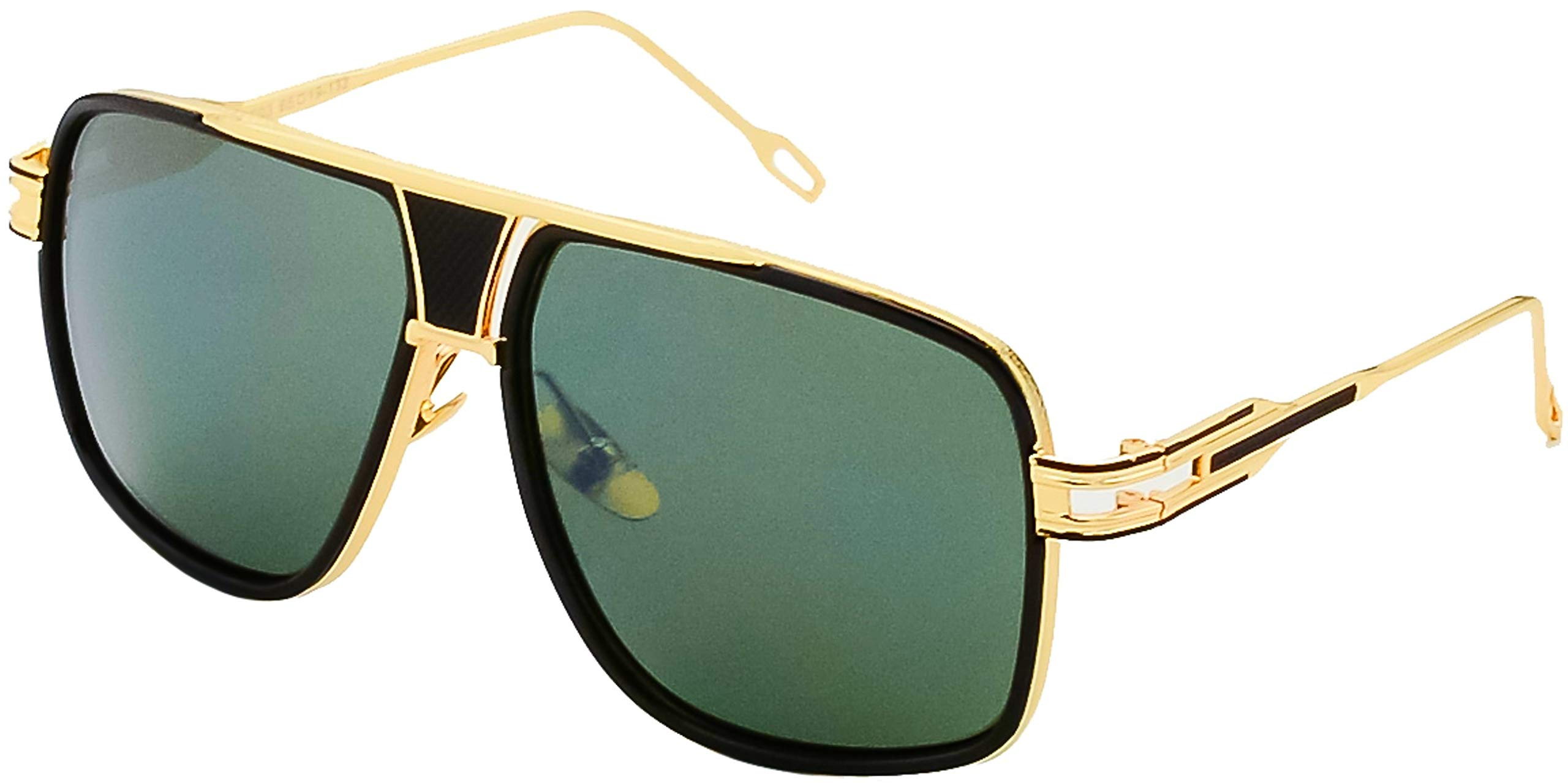 Square Sunglasses for Men Gold and Black Frame Gold Nose Pads with Green Lens by Stylle