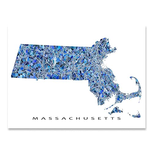 picture about Printable Map of Massachusetts known as : Machusetts Map Print, MA Place Wall Artwork Decor