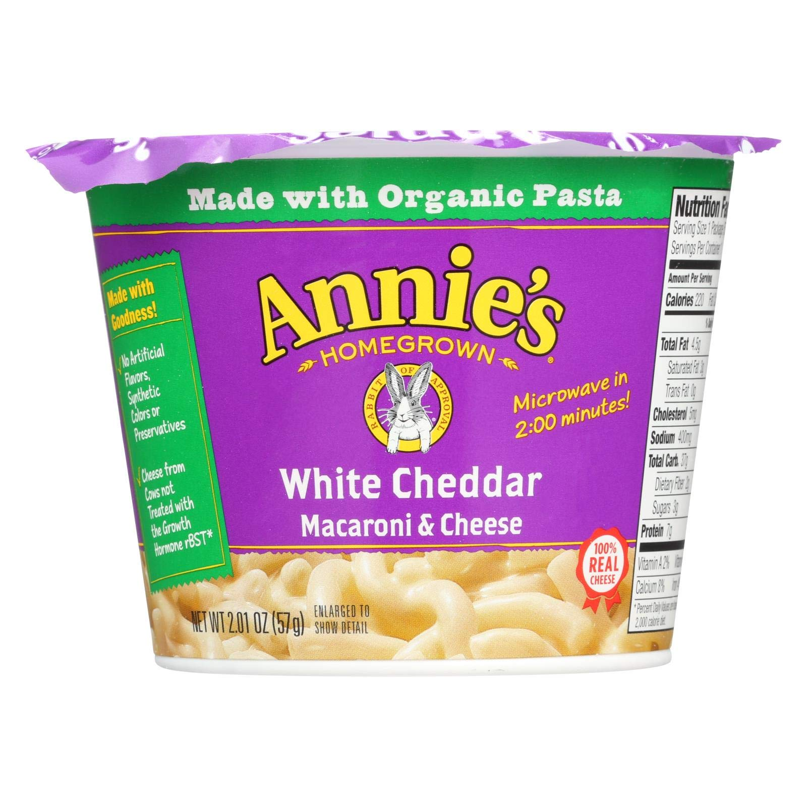 Annie's Homegrown White Cheddar Microwavable Macaroni and Cheese Cup - Case of 12 - 2.01 oz. by Annie's Homegrown