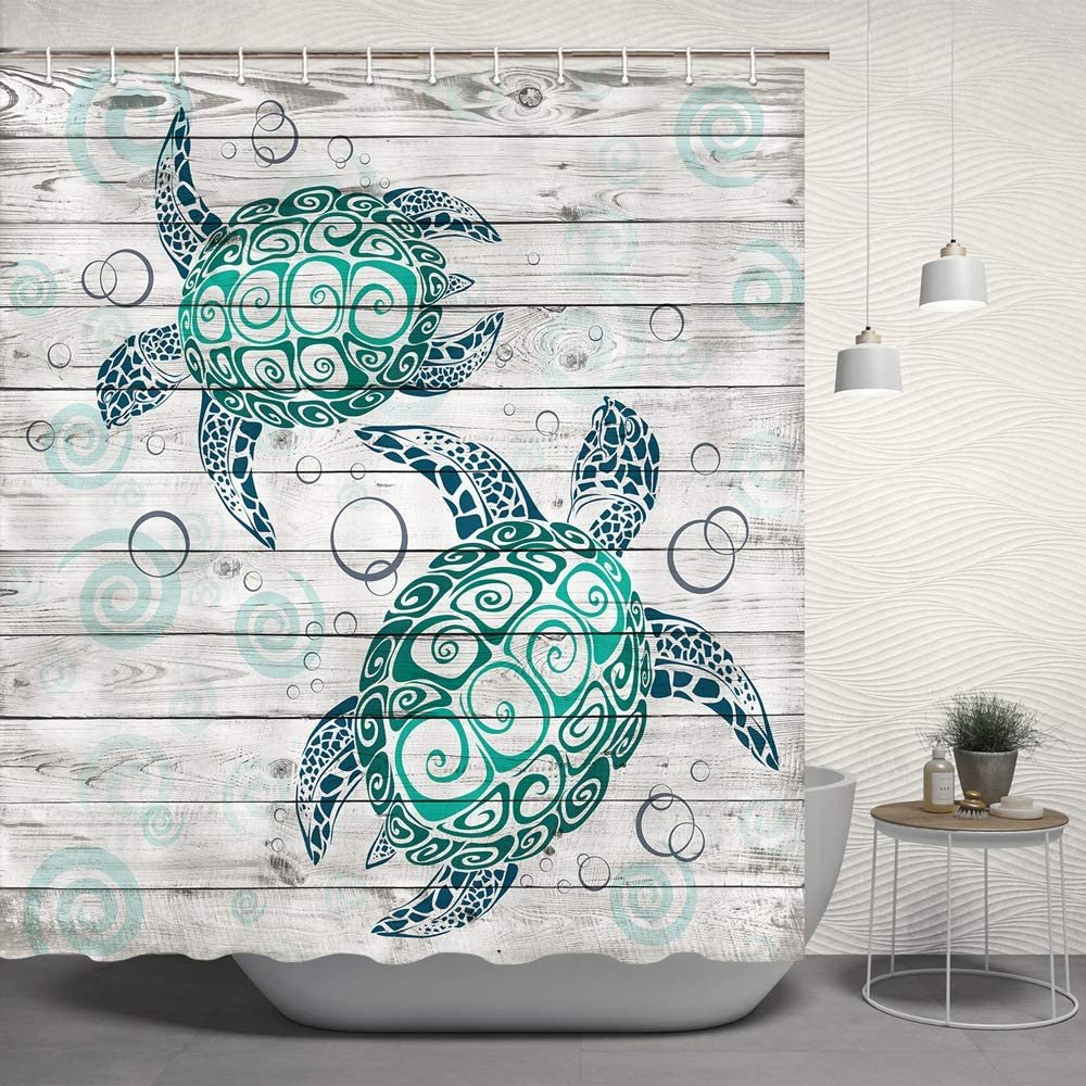JAWO Turtle Shower Curtain Set, Sea Marine Animal Tortoise Turtle on Rustic Wooden Plank Costal Beach Polyester Fabric Bathroom Bath Curtain Liner Set with Hooks 69x70inches