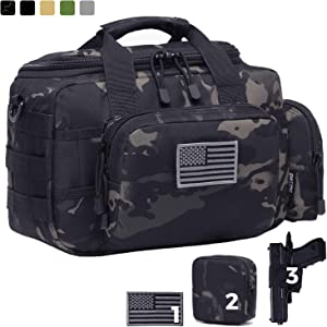 DBTAC Gun Range Bag Small | Tactical 2X Pistol Shooting Range Duffle Bag with Lockable Zipper for Handguns and Ammo