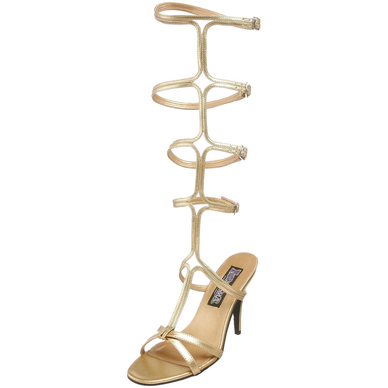 Pleaser Roman10/G/Pu, Sandalias para Mujer 43 EU|Dorado (Gold)