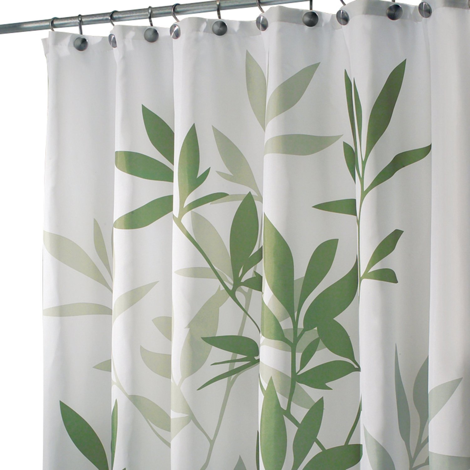 Amazon.com: InterDesign Leaves X-Long Shower Curtain, Green, 72 ...