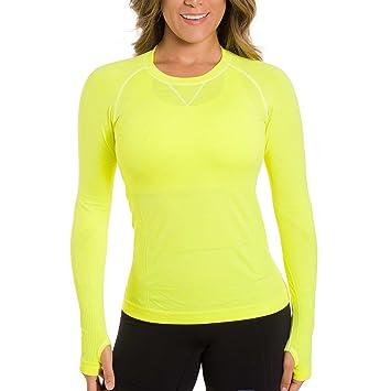 Zensah Mujer Run Seamless manga larga camiseta de running, mujer, color amarillo fluorescente, tamaño small: Amazon.es: Deportes y aire libre