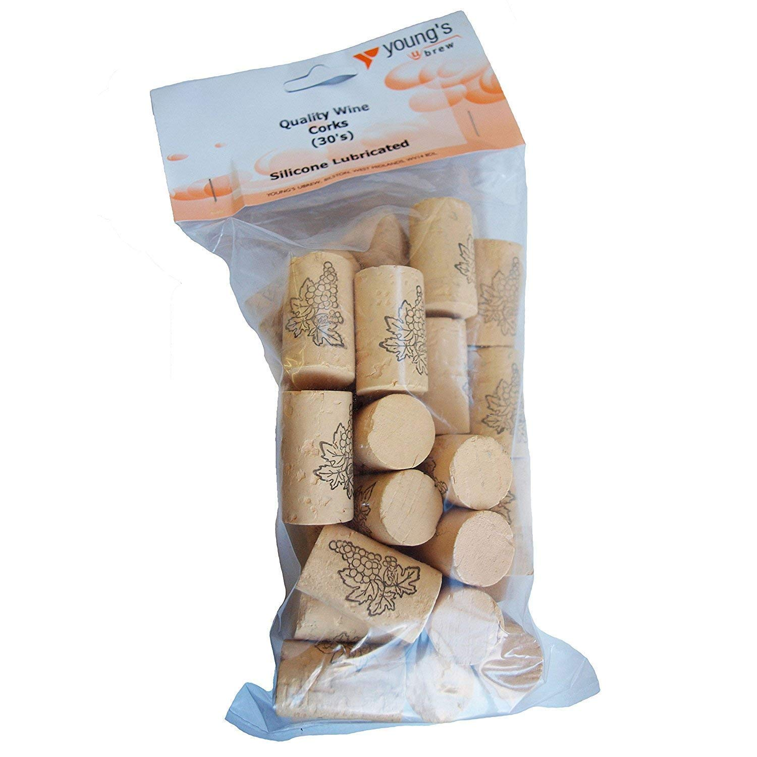 Youngs Brew Home Brewing Quality Wine Corks Pack Of 30 Corks 38Mm X 22Mm
