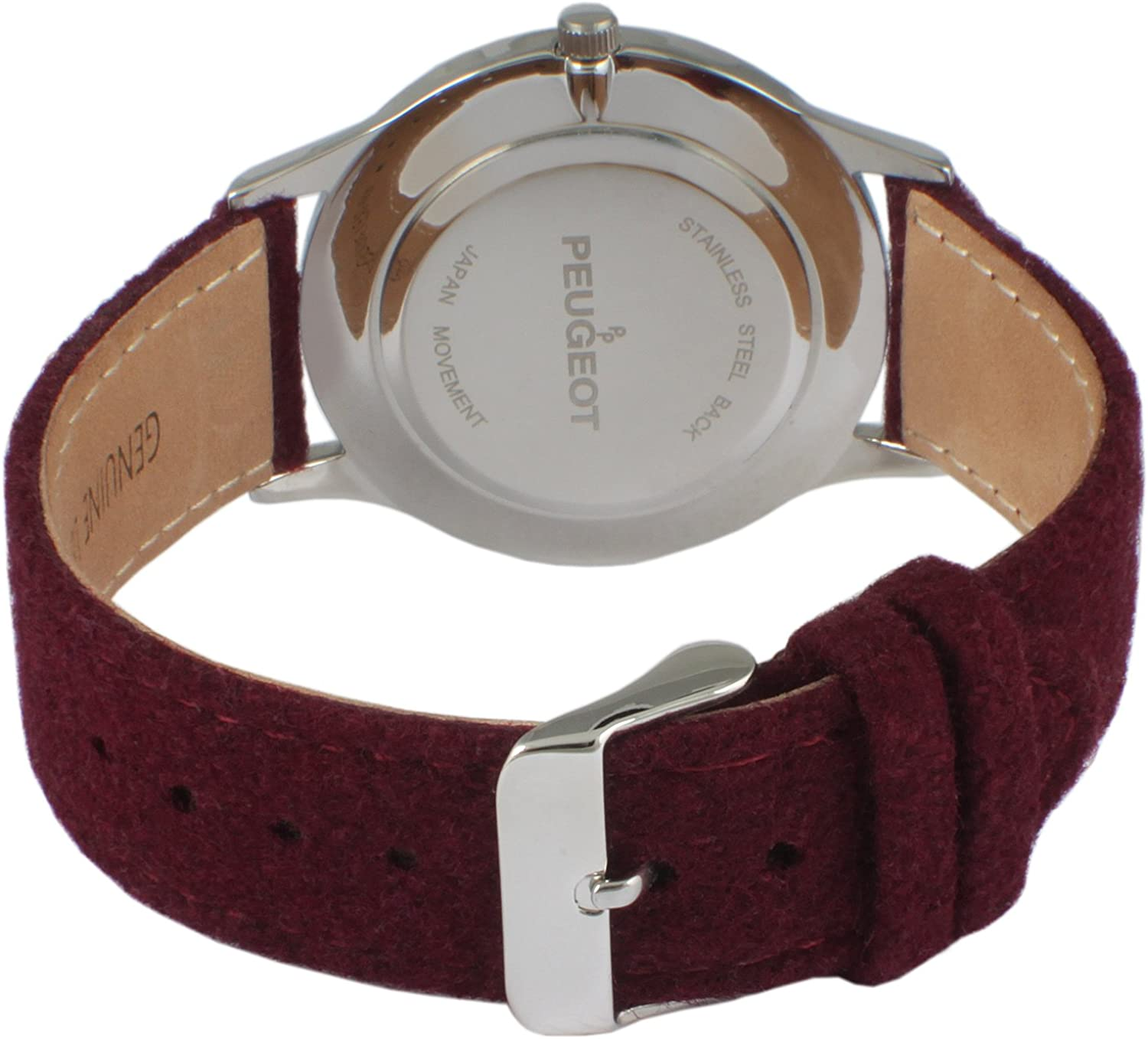 Peugeot Women Contemporary Silver Slim Case Casual Wrist Watch w/Matching Canvas Wool Strap Wine