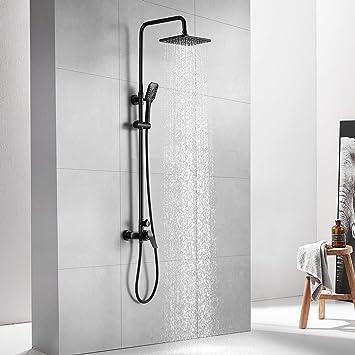 Auralum Columna ducha Negro Monomando, Set de ducha con grifo, Conjunto de ducha de pared 25 X 20 CM Alcachofa Ducha Lluvia y Ducha de Mano. Altura ajustable