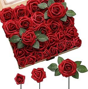 DerBlue 60pcs Three Different Sizes Artificial Roses Flowers Foam Roses Bulk w/Stem for DIY Wedding Bouquets Corsages Centerpieces Arrangements Baby Shower Cake Flower Decorations (Dark Red)