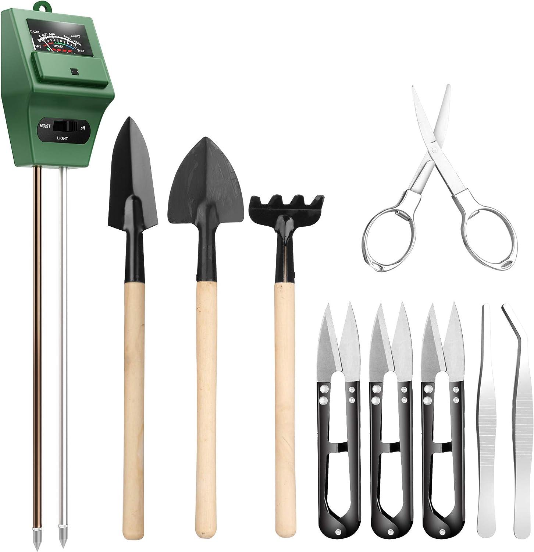 Medidor de pH de Suelo con 9 Herramientas bonsái, Sensor de Humedad 3 en 1, luz Solar, podadora incluida, Tijeras Plegables, Mini rastrillo, Brote y recortador de Hojas