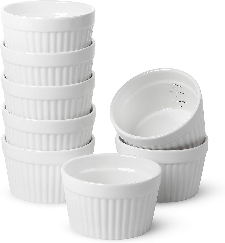 BTäT- Ramekins, Set of 8, Ramekins for Baking, Ramekins 6 oz, Ramekin with Measurement Markings, Creme Brulee Dishes, Souffle Cups, Custard Cups, Ceramic Bakeware, Souffle Dish, Small Ceramic Bowl