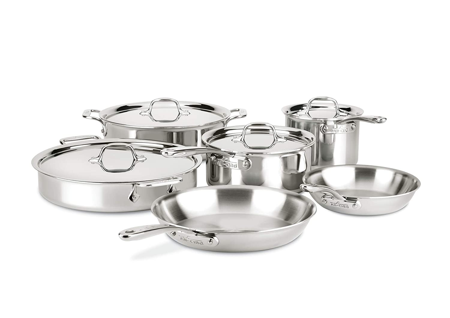 All-Clad ST40010 D3 Compact Stainless Steel Dishwasher Safe Cookware Set, 10-Piece, Silver
