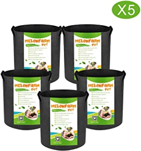 MELONFARM 5-Pack 3 Gallon Plant Grow Bags - Smart Thickened Non-Woven Aeration Fabric Pots Container with Strap Handles for Garden and Planting